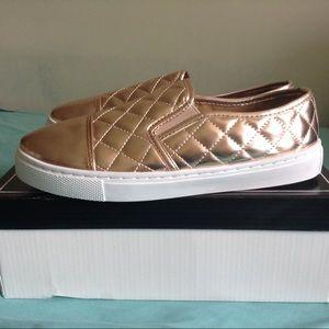 Rose gold slip-on sneakers